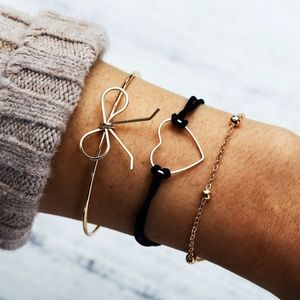 *ALVENA* 3-Pc Gold Bow Knot x Heart Bracelet Set